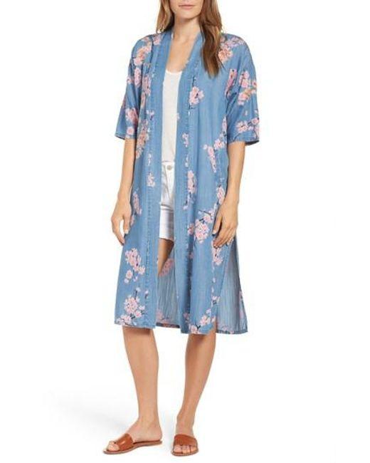 BILLY T - Blue Cherry Blossom Kimono - Lyst