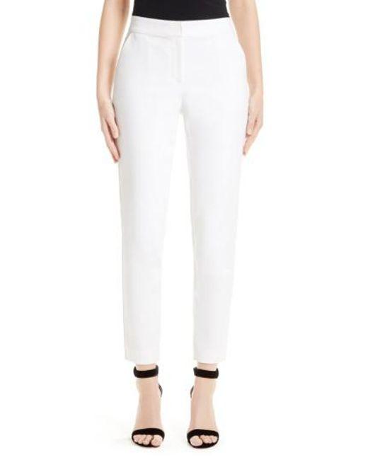 St. John | White Emma Stretch Micro Ottoman Crop Pants | Lyst