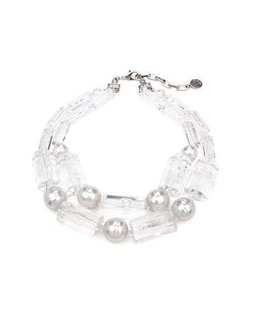 Ben-Amun - Metallic Imitation Pearl & Lucite Necklace - Lyst