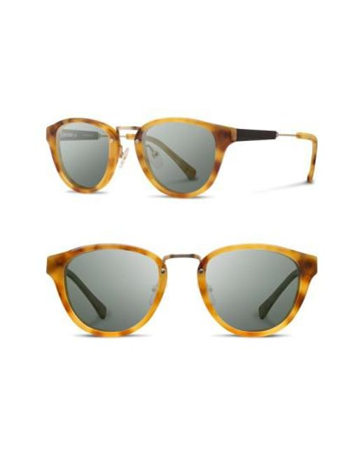 Shwood | Metallic 'ainsworth' 49mm Acetate & Wood Sunglasses - Amber/ Gold/ G15 | Lyst