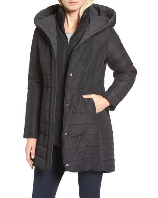 Maralyn & me Quilted Hooded Jacket in Black | Lyst : quilted hooded jacket - Adamdwight.com
