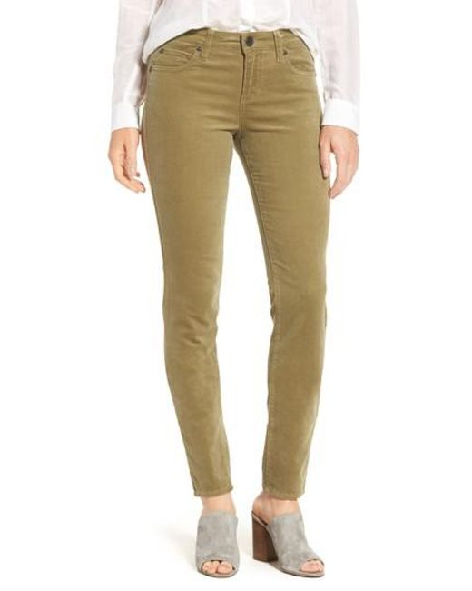 Kut From The Kloth   Green 'diana' Stretch Corduroy Skinny Pants (petite)   Lyst