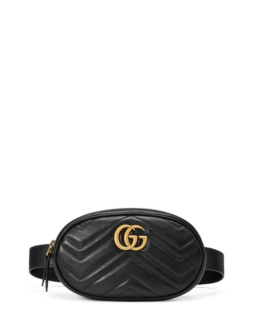 Gucci - Black Gg Marmont 2.0 Matelasse Leather Belt Bag - Lyst