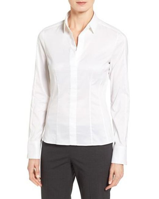 BOSS - White Bashina Stretch Poplin Blouse - Lyst