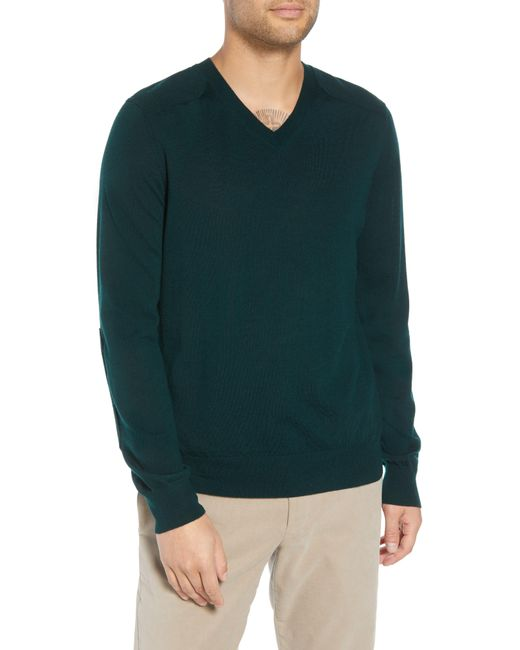 Vince - Green Regular Fit Elbow Patch Merino Wool Sweater for Men - Lyst
