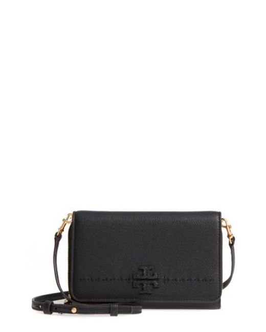 Tory Burch | Black Mcgraw Leather Crossbody Wallet | Lyst
