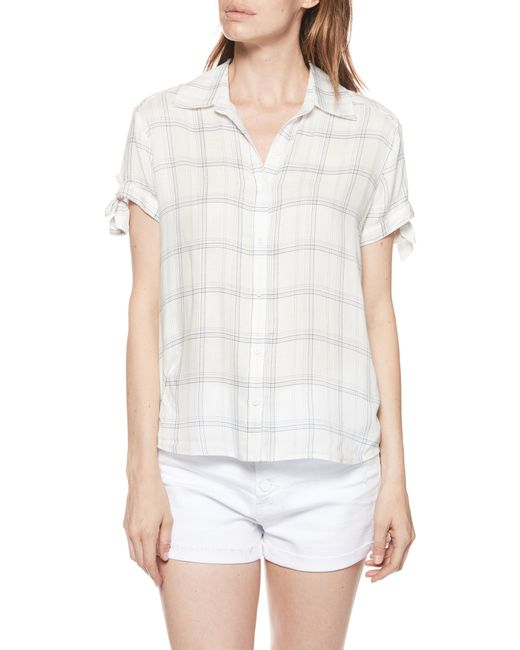 PAIGE - White Avery Plaid Shirt - Lyst