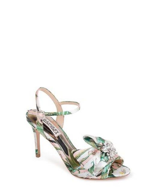Badgley Mischka Samantha Satin Jeweled Bow Detail Dress Sandals LK4Fw0V