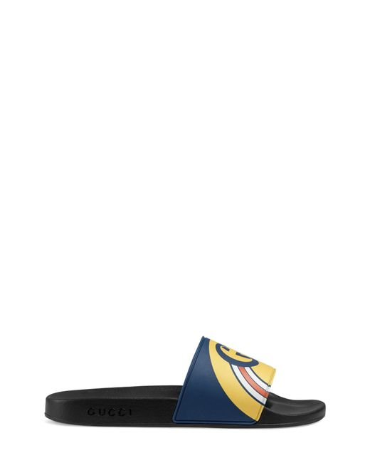 1961f214bba Lyst - Gucci Navy Blue And Black Pursuit Logo Slides in Blue for Men