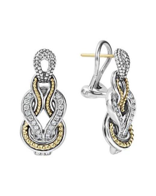 Lagos   Metallic 'newport' Diamond Knot Earrings   Lyst