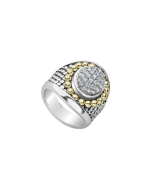 Lagos - Metallic Signature Caviar & Pave Diamond Ring - Lyst