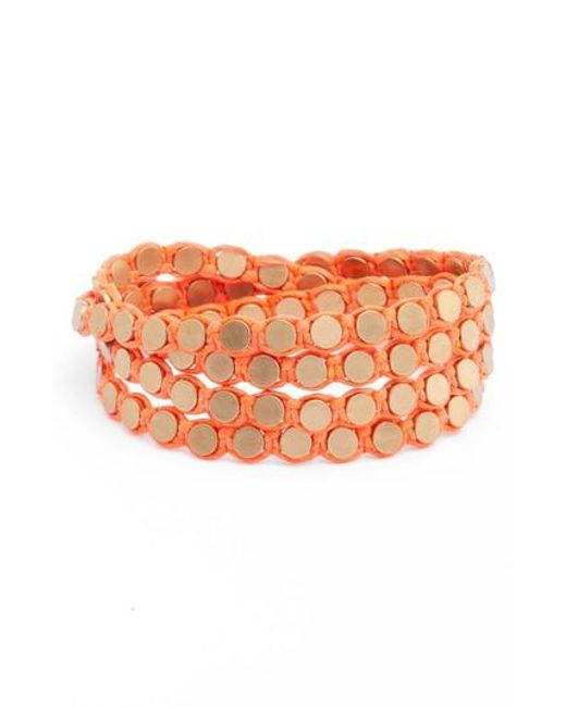 Serefina | Orange Wrap Disk Bracelet | Lyst