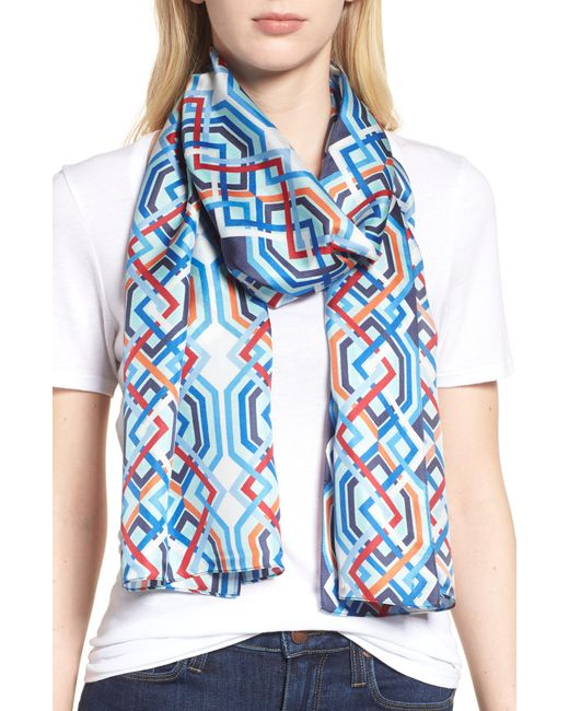 Echo - Blue Geo Lattice Silk Scarf - Lyst