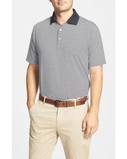Peter Millar | Black 'competition' Stripe Stretch Microfiber Golf Polo for Men | Lyst