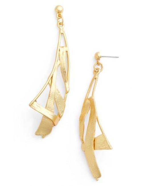 Karine Sultan - Metallic Sail Drop Earrings - Lyst