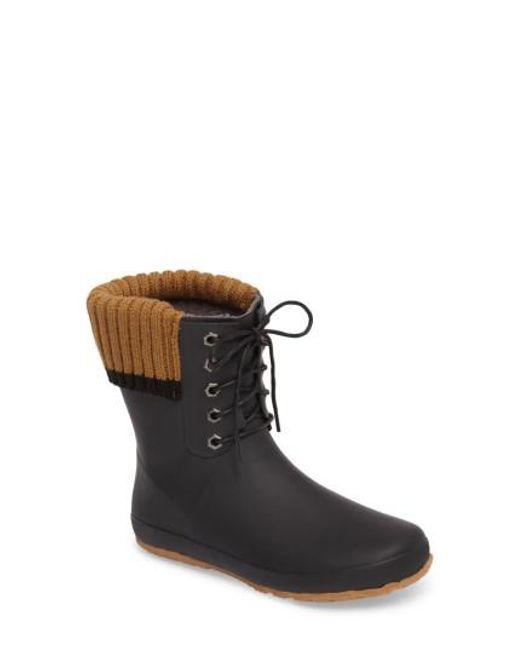 Dav - Black Lace-up Weatherproof Rain Boot - Lyst