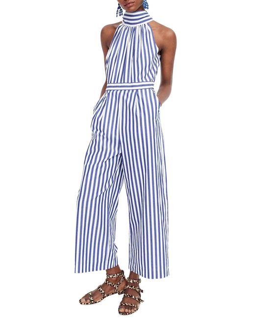 J.Crew - Blue Petite Striped Halter Jumpsuit - Lyst