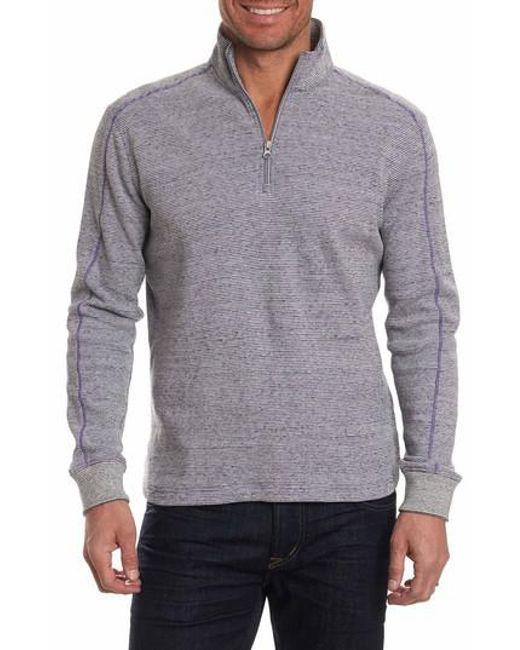 Robert Graham | Gray Easy Rider Quarter Zip Pullover for Men | Lyst