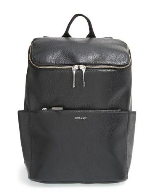 Matt & Nat | Black 'brave' Faux Leather Backpack | Lyst
