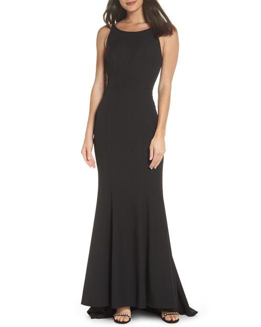 Jarlo - Black Rose Strappy Back Mermaid Gown - Lyst