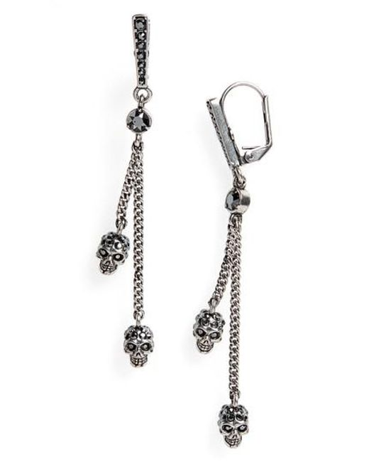 Alexander McQueen - Metallic Thin Chain Earrings - Lyst