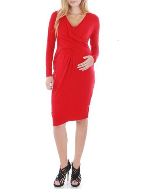 Everly Grey | Red 'Sloan' Maternity/Nursing Dress | Lyst