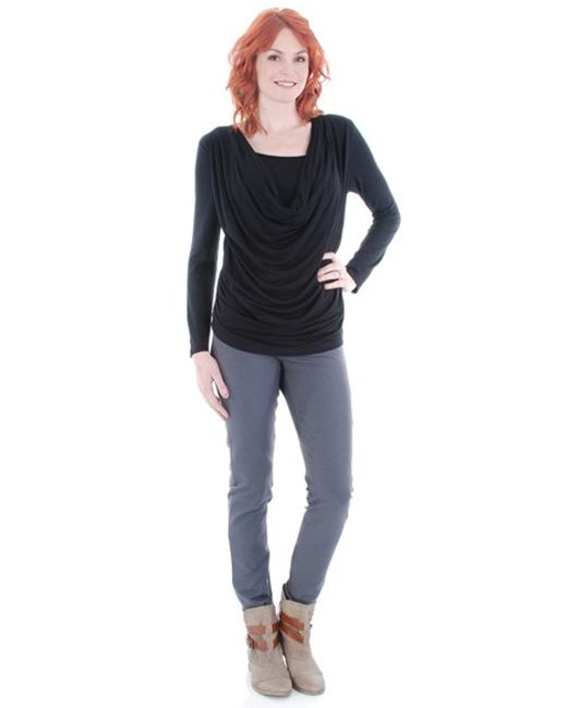 Everly Grey | Black 'kristina' Cowl Neck Maternity/nursing Top | Lyst