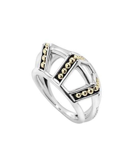 Lagos   Metallic 'ksl' Pyramid Ring   Lyst