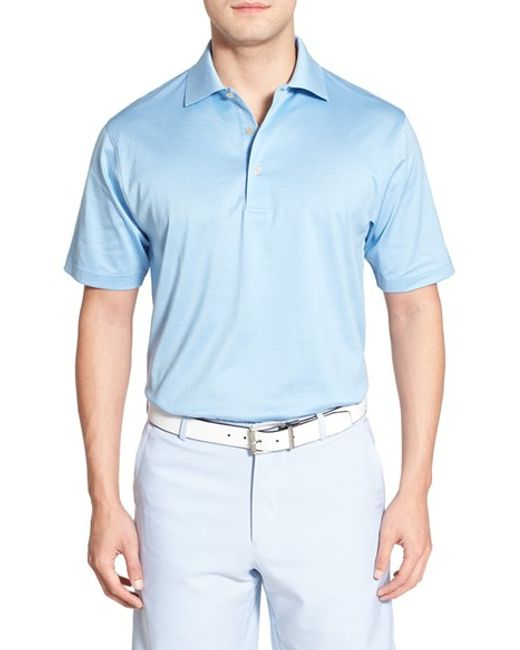 Peter Millar | Blue Egyptian Cotton Lisle Polo for Men | Lyst