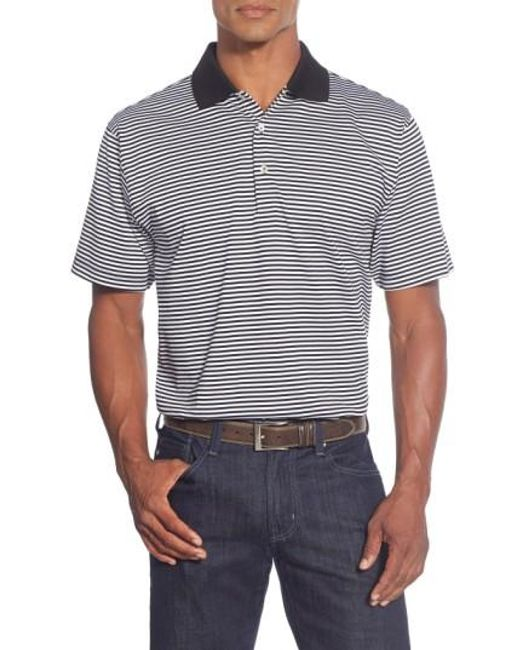 Peter Millar | Black Classic Stripe Egyptian-Cotton Polo Shirt for Men | Lyst