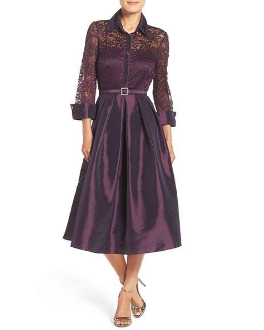 Eliza J Mixed Media Fit Amp Flare Dress In Purple Lyst