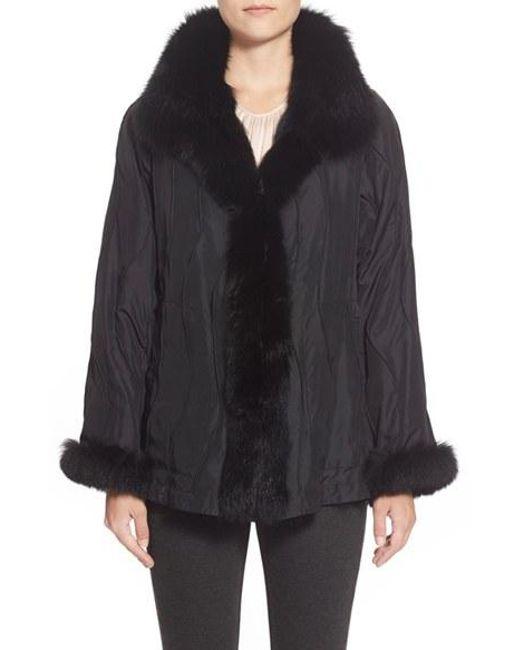 George Simonton | Black Reversible Silk & Genuine Fox Fur Topper | Lyst