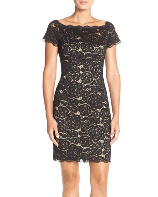 Adrianna Papell | Black Off The Shoulder Lace Sheath Dress | Lyst