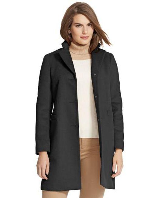 Lauren by Ralph Lauren   Black Wool Blend Reefer Coat   Lyst