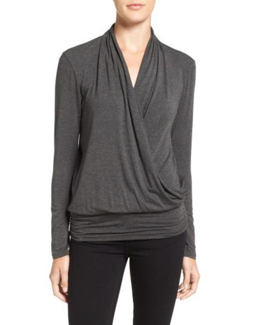 Amour Vert | Green 'angela' Long Sleeve Wrap Front Top | Lyst