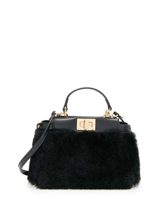 Fendi | Black 'Micro Peekaboo' Genuine Shearling & Lambskin Leather Bag | Lyst