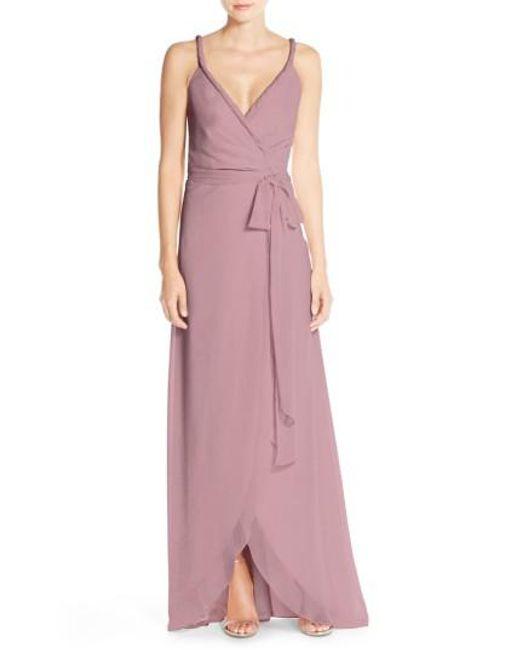 Joanna August   Purple 'parker' Twist Strap Chiffon Wrap Gown   Lyst