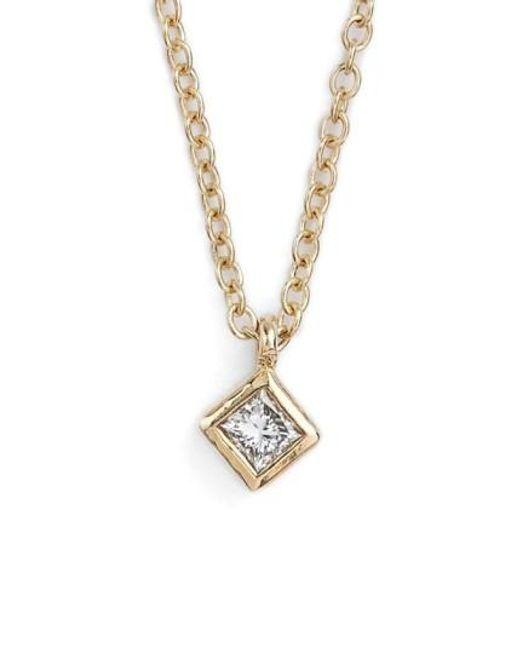 Zoe Chicco | Metallic Princess Diamond Pendant Necklace | Lyst