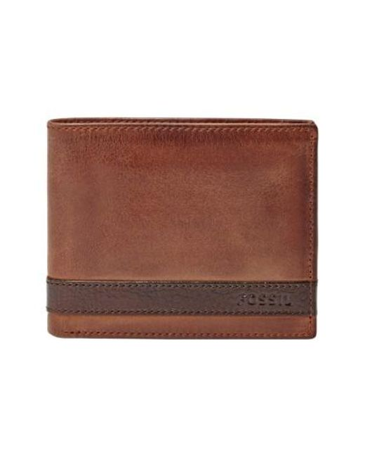 Fossil | Brown 'quinn' Leather Bifold Wallet for Men | Lyst