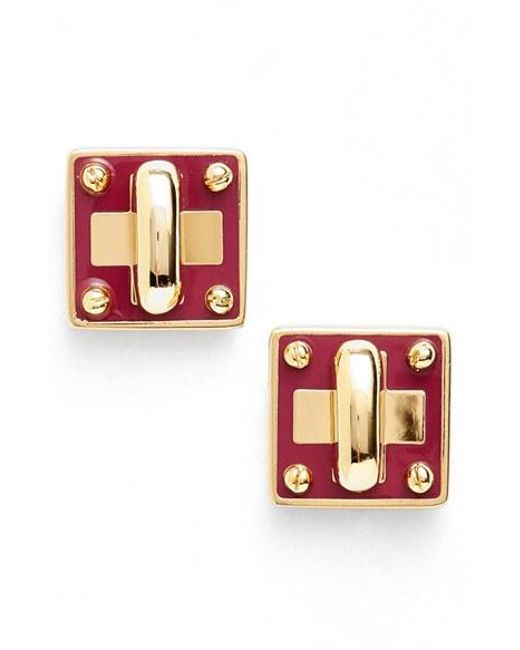 Marc By Marc Jacobs | Multicolor 'turnlock' Enamel Stud Earrings | Lyst