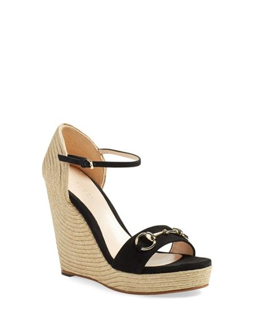 Gucci | Black 'carolina' Ankle Strap Wedge | Lyst