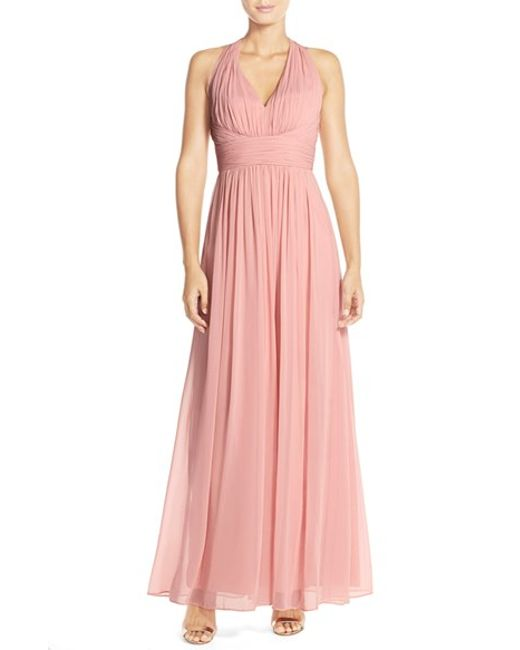 Dessy Collection | Pink Ruched Chiffon V-neck Halter Gown | Lyst