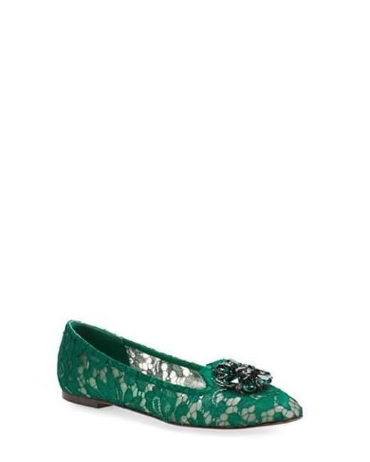 Dolce & Gabbana | Green Crystal & Lace Pointy Toe Flat | Lyst