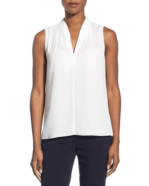 T Tahari | White 'edie' Pleat V-neck Blouse | Lyst