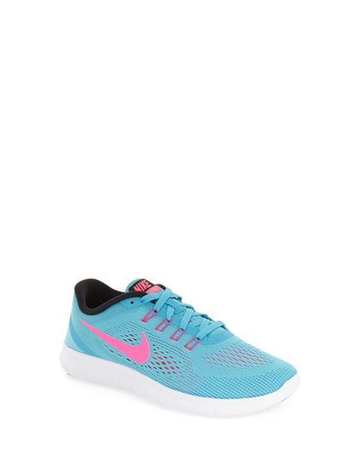 nike free rn running shoe in pink blue black pink lyst