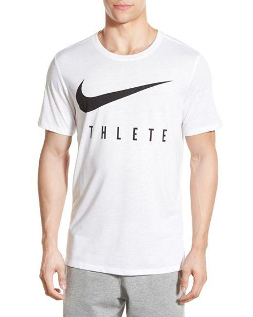 Nike 39 Athlete Swoosh 39 Dri Fit T Shirt In White For Men