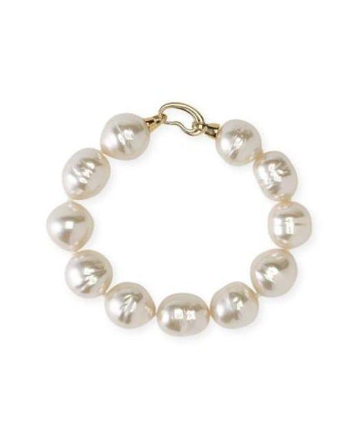 Majorica | White 14mm Baroque Pearl Single Row Bracelet | Lyst