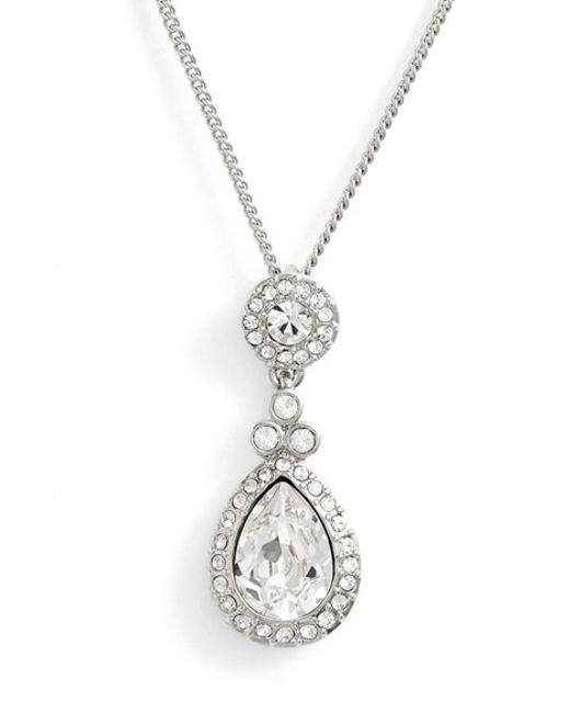 Givenchy | Metallic Crystal Teardrop Pendant Necklace | Lyst