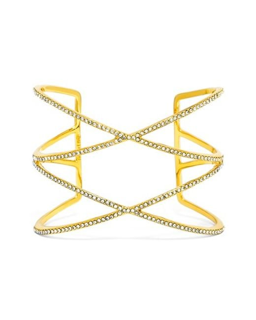 BaubleBar | Metallic 'double Helix' Pave Cuff | Lyst