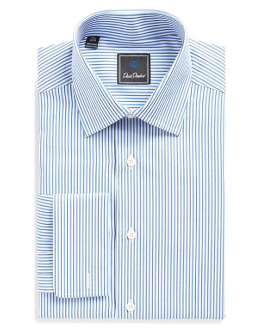 David Donahue Regular Fit Stripe Dress Shirt In Blue For